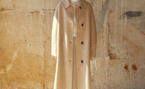 MOHAN 21秋冬 韩国设计师品牌 小尖领腰带款宽松羊毛燕麦大衣外套
