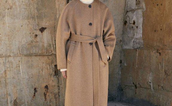 正品MOHAN 21秋冬 韩国设计师品牌 圆领腰带款后开叉羊毛大衣外套