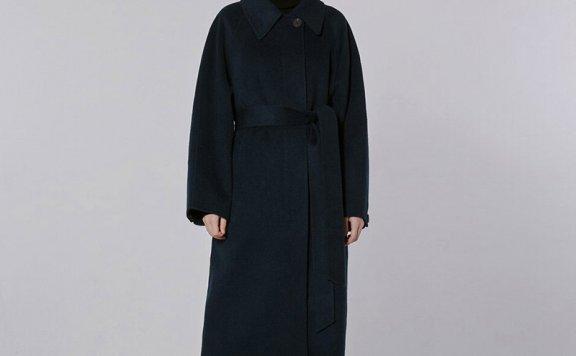 正品MOHAN 21秋冬 韩国设计师品牌 小尖领腰带款后开叉羊毛大衣
