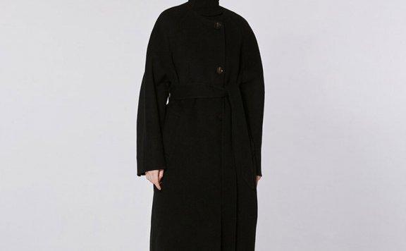 MOHAN 21秋冬 韩国设计师品牌 圆领单排扣腰带款插肩袖羊毛大衣