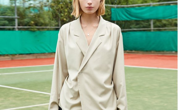 ouimaisnon 21秋冬 韩国设计师品牌 一粒扣西装领腰部系带衬衫